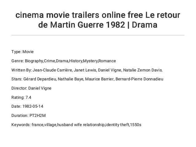 cinema movie trailers online free Le retour de Martin Guerre