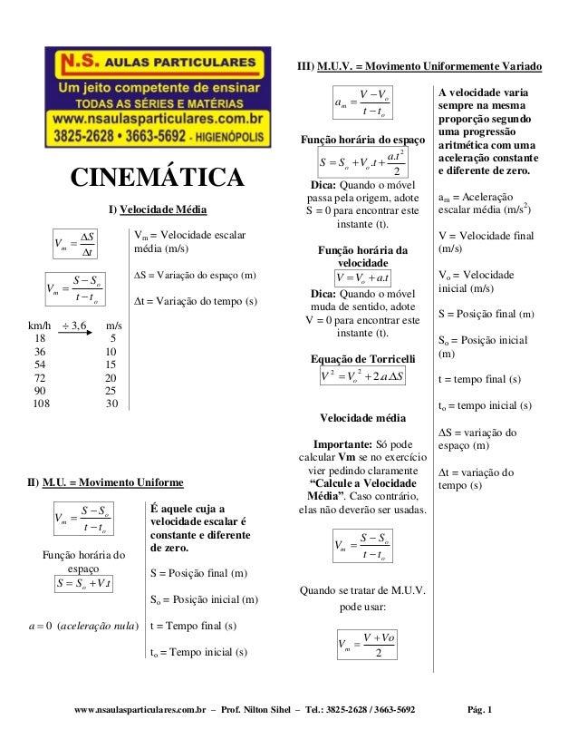 www.nsaulasparticulares.com.br – Prof. Nilton Sihel – Tel.: 3825-2628 / 3663-5692 Pág. 1 CINEMÁTICA I) Velocidade Média t ...