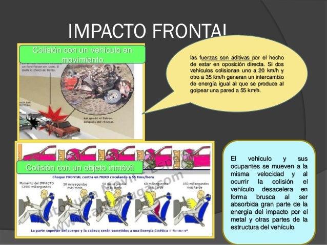 IMPACTO FRONTAL Colisión con un vehículo en movimiento Colisión con un objeto inmóvil las fuerzas son aditivas por el hech...