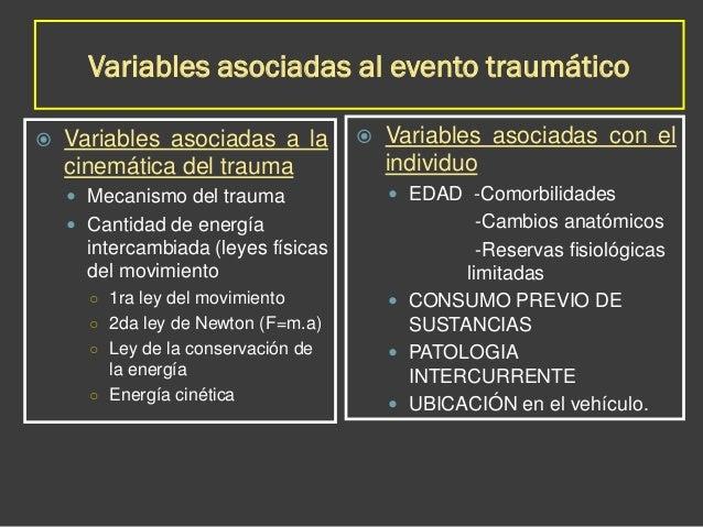 Variables asociadas al evento traumático  Variables asociadas a la cinemática del trauma  Mecanismo del trauma  Cantida...