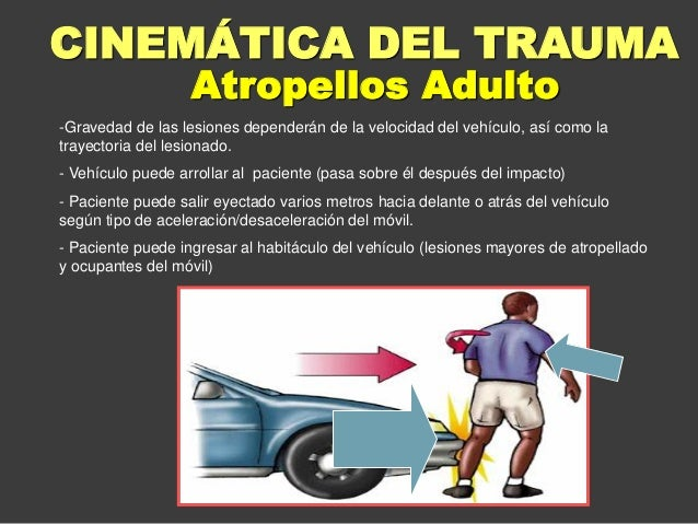 Atropellos Adulto CINEMÁTICA DEL TRAUMA -Gravedad de las lesiones dependerán de la velocidad del vehículo, así como la tra...