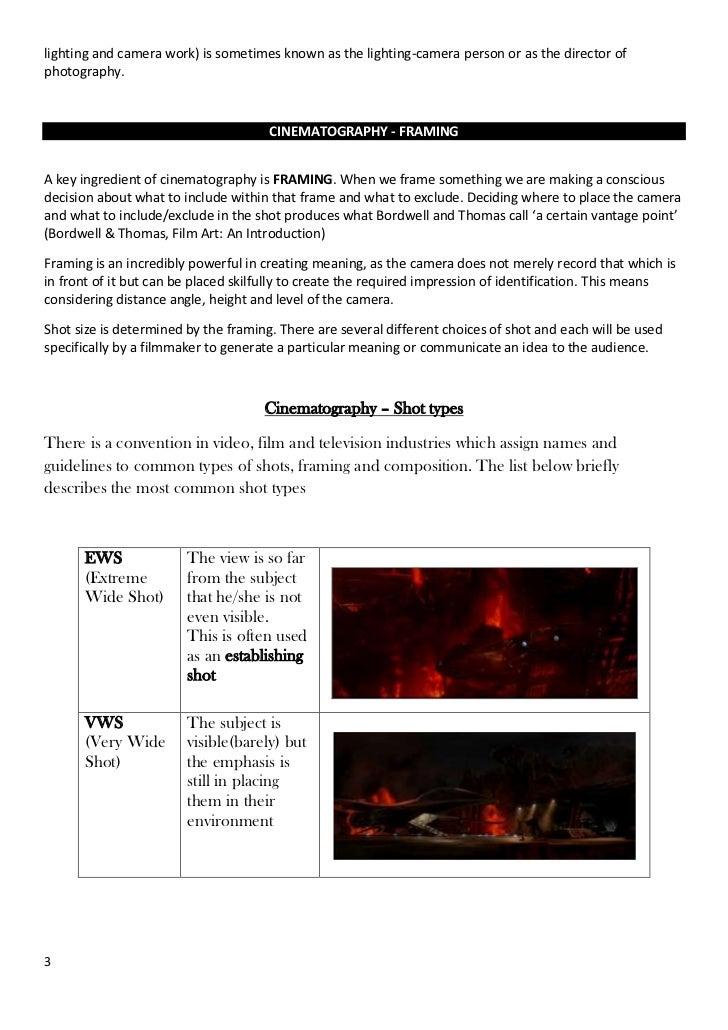 Cinematography handout lesson 2