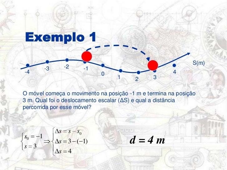 Exemplo 1<br />S(m)<br />-2<br />-1<br />-3<br />4<br />-4<br />0<br />3<br />1<br />2<br />O móvel começa o movimento na ...