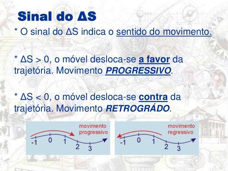 Sinal do ΔS<br />* O sinal do ΔS indica o sentido do movimento.<br />* ΔS > 0, o móvel desloca-se a favor da trajetória. M...