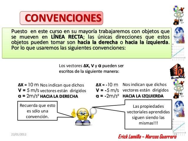 CONVENCIONESPuesto en este curso en su mayoría trabajaremos con objetos quese mueven en LÍNEA RECTA; las únicas direccione...