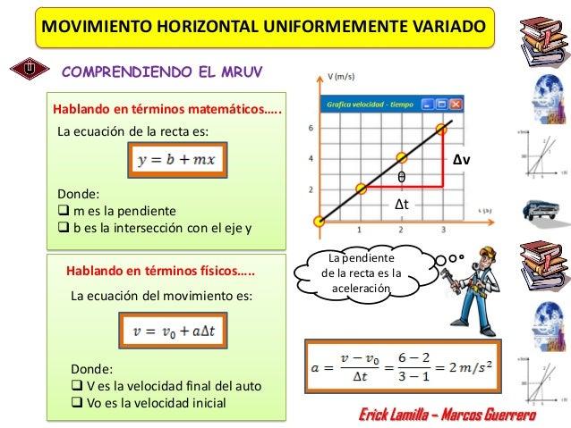 MOVIMIENTO HORIZONTAL UNIFORMEMENTE VARIADO  COMPRENDIENDO EL MRUV Hablando en términos matemáticos….. La ecuación de la r...
