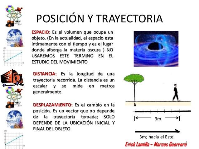 POSICIÓN Y TRAYECTORIAESPACIO: Es el volumen que ocupa unobjeto. (En la actualidad, el espacio estaíntimamente con el tiem...
