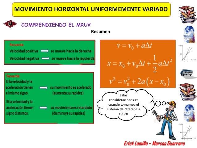 MOVIMIENTO HORIZONTAL UNIFORMEMENTE VARIADO COMPRENDIENDO EL MRUV                         Resumen                         ...