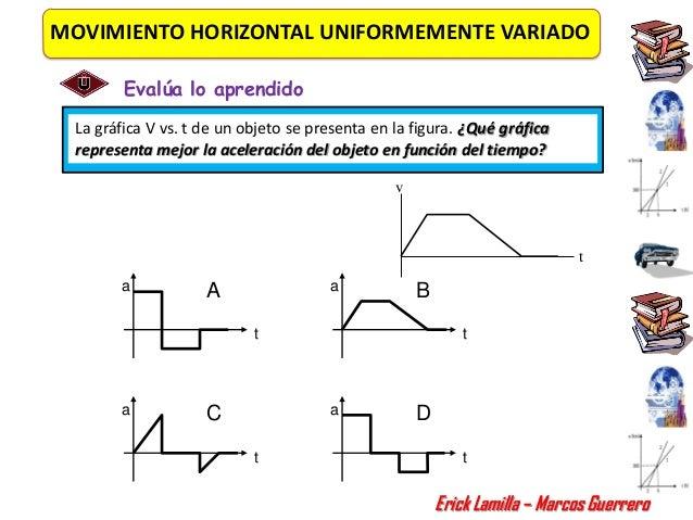 MOVIMIENTO HORIZONTAL UNIFORMEMENTE VARIADO        Evalúa lo aprendido La gráfica V vs. t de un objeto se presenta en la f...