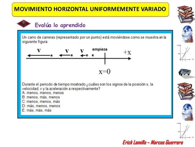 MOVIMIENTO HORIZONTAL UNIFORMEMENTE VARIADO     Evalúa lo aprendido                              Erick Lamilla – Marcos Gu...