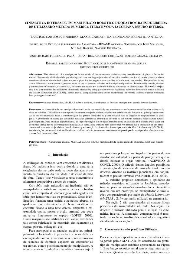 CINEMÁTICA INVERSA DE UM MANIPULADO ROBÓTICO DE QUATRO GRAUS DE LIBERDA- DE UTILIZANDO MÉTODO NUMÉRICO ITERATIVO DA JACOBI...