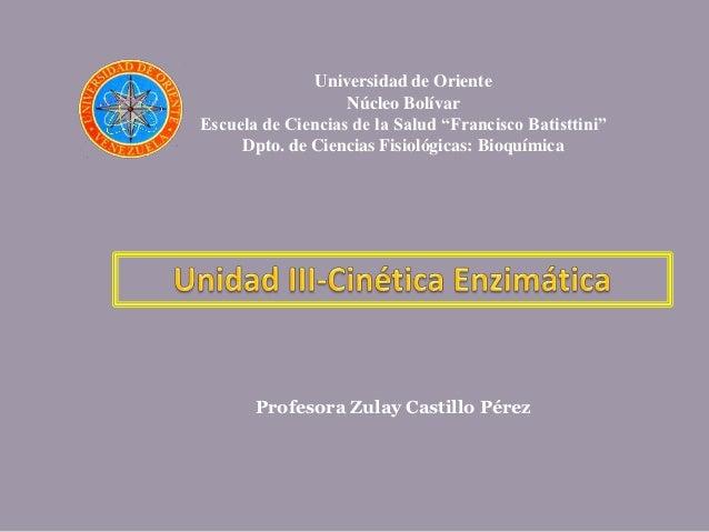 """Universidad de Oriente                   Núcleo BolívarEscuela de Ciencias de la Salud """"Francisco Batisttini""""     Dpto. de..."""