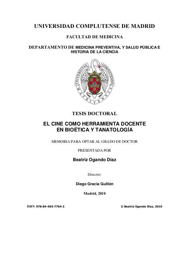 UNIVERSIDAD COMPLUTENSE DE MADRID FACULTAD DE MEDICINA DEPARTAMENTO DE MEDICINA PREVENTIVA, Y SALUD PÚBLICA E HISTORIA DE ...