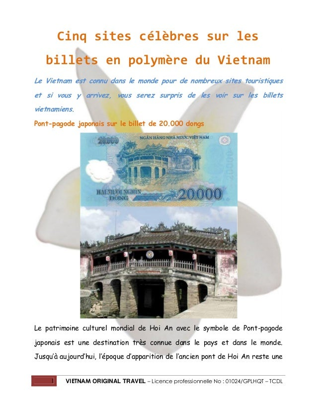 Cinq sites célèbres sur les billets en polymère du Vietnam Le Vietnam est connu dans le monde pour de nombreux sites touri...