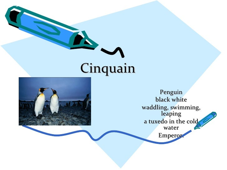 Cinquain Penguin black white waddling, swimming, leaping a tuxedo in the cold water Emperor.