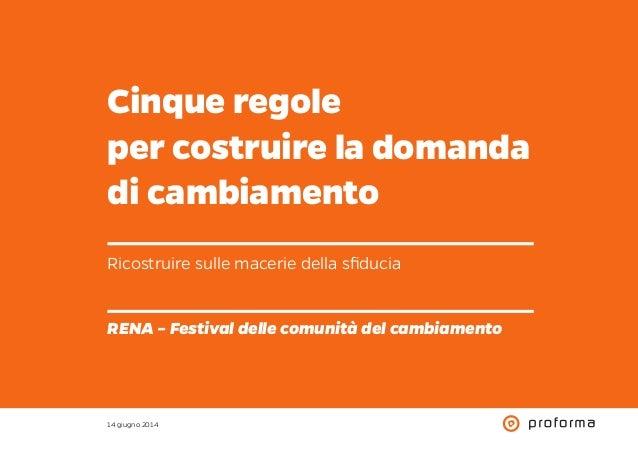 Cinque regole per costruire la domanda di cambiamento Ricostruire sulle macerie della sfiducia RENA – Festival delle comun...