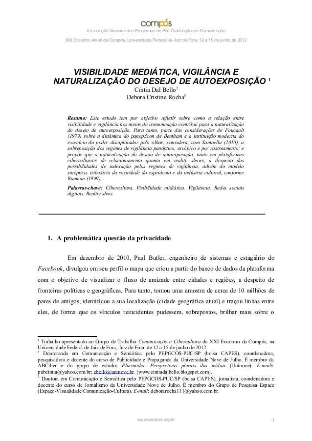 Associação Nacional dos Programas de Pós-Graduação em Comunicação XXI Encontro Anual da Compós, Universidade Federal de Ju...