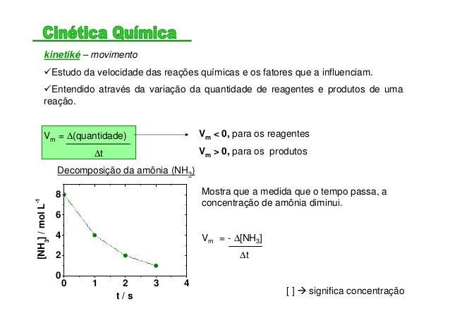 kinetiké – movimento Estudo da velocidade das reações químicas e os fatores que a influenciam. Entendido através da variaç...