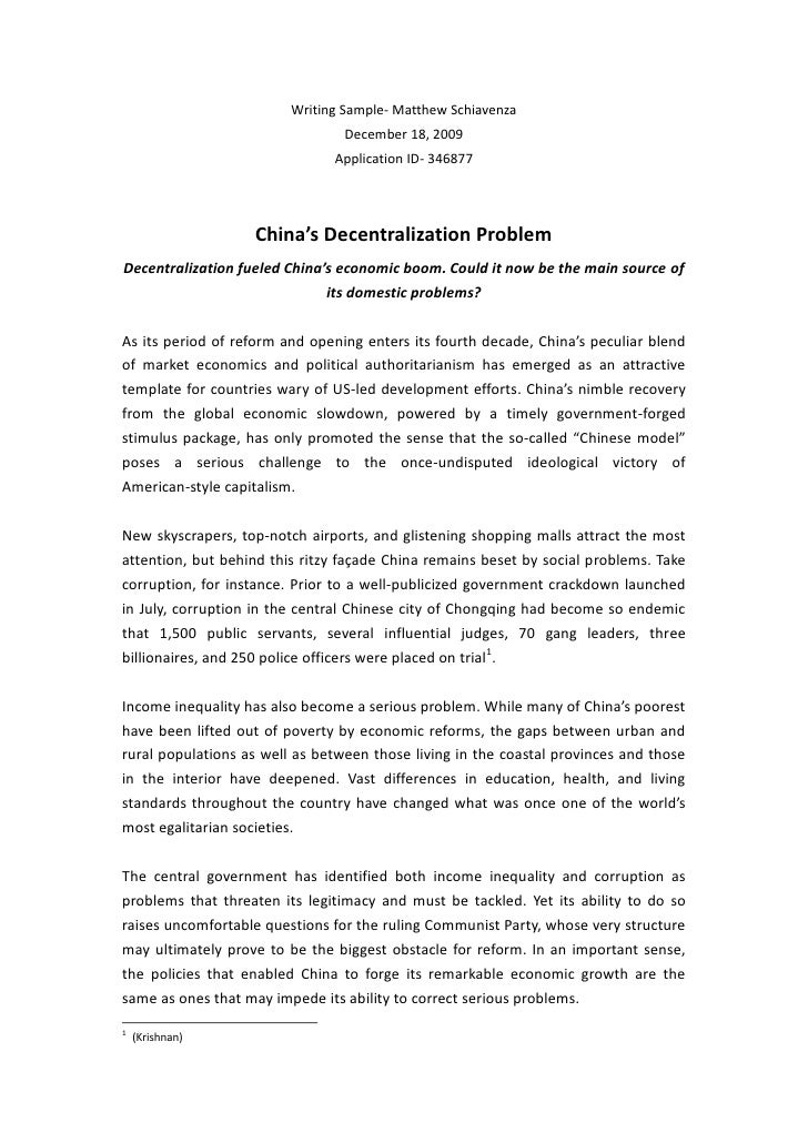 China's Decentralization Problem<br />Decentralization fueled China's economic boom. Could it now be the main source of it...