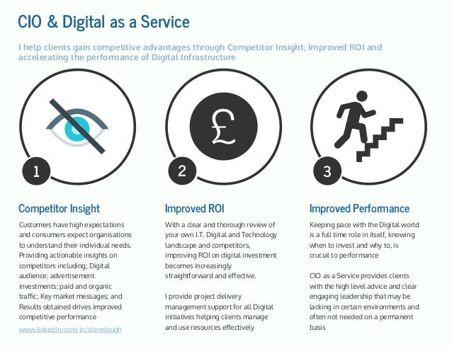 CIO & Digital as a Service Competitor Insight Customers have high expectations and consumers expect organisations to under...