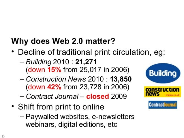 Why does Web 2.0 matter?     • Decline of traditional print circulation, eg:       – Building 2010 : 21,271         (down ...