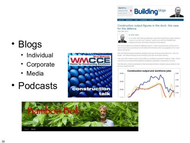 • Blogs       • Individual       • Corporate       • Media     • Podcasts30