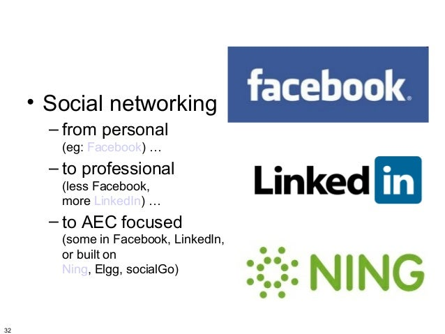 • Social networking       – from personal        (eg: Facebook) …       – to professional        (less Facebook,        mo...