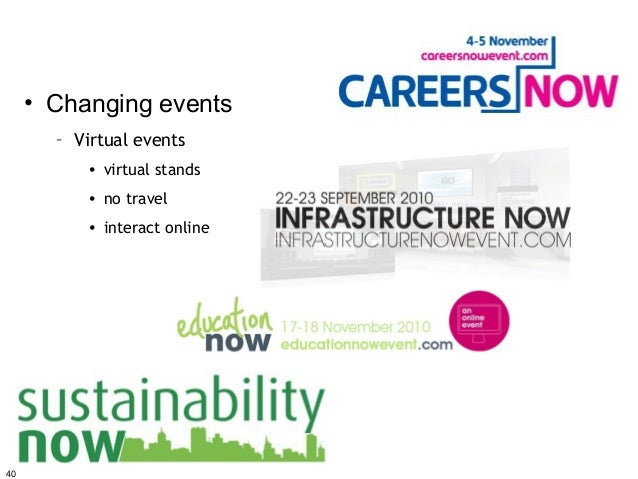 • Changing events       – Virtual events          • virtual stands          • no travel          • interact online40
