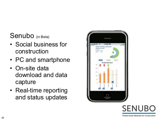 Senubo (in Beta)     • Social business for       construction     • PC and smartphone     • On-site data       download an...