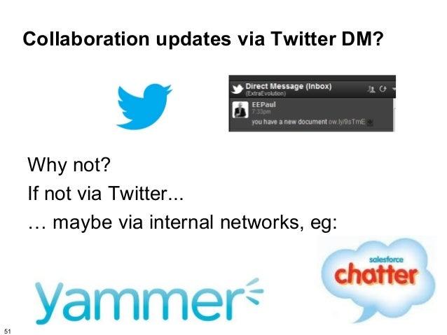 Collaboration updates via Twitter DM?     Why not?     If not via Twitter...     … maybe via internal networks, eg:51