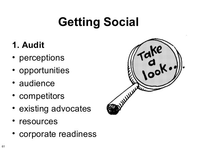 Getting Social     1. Audit     • perceptions     • opportunities     • audience     • competitors     • existing advocate...