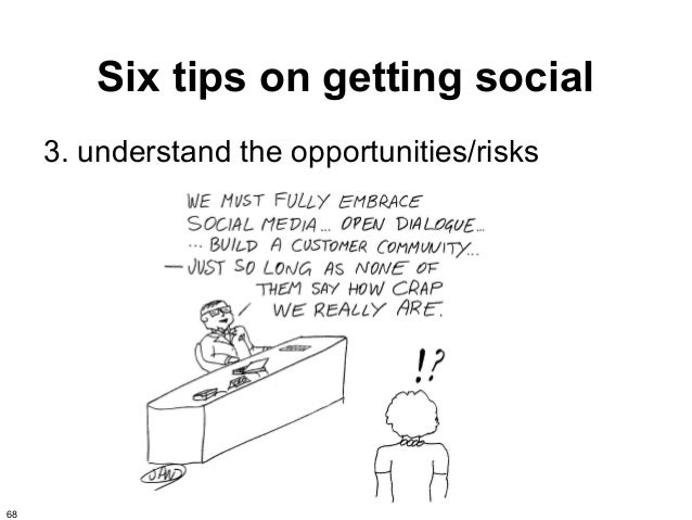 Six tips on getting social     3. understand the opportunities/risks68