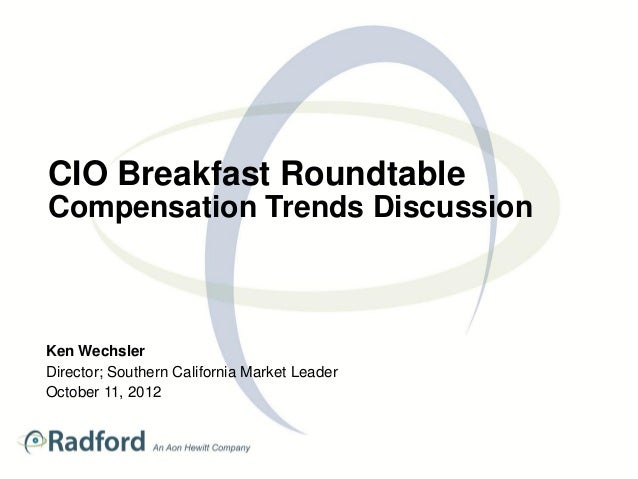 CIO Breakfast RoundtableCompensation Trends DiscussionKen WechslerDirector; Southern California Market LeaderOctober 11, 2...