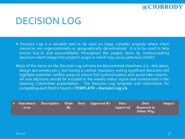 CIOBRODY PMO Methodology Overview – Decision Log Template