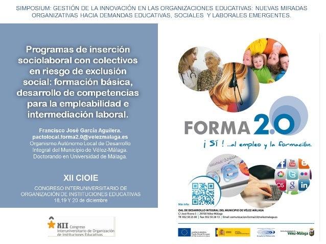 1.- Introducción Programas de inserción sociolaboral con colectivos en riesgo de exclusión social: formación      básica, ...