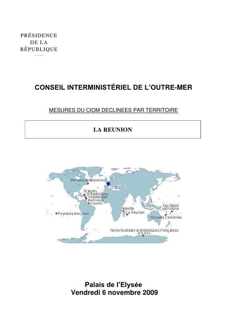 PRÉSIDENCE    DE LA RÉPUBLIQUE    ______        CONSEIL INTERMINISTÉRIEL DE L'OUTRE-MER               MESURES DU CIOM DECL...