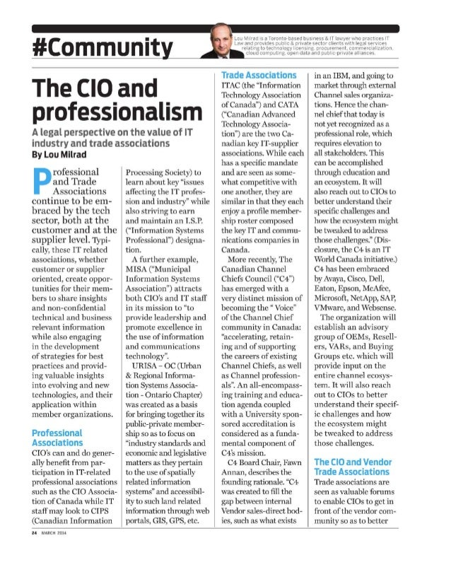#Communi The CIO and professionalism A legal perspective on the value of IT industry and trade associations By Lou Milrad ...