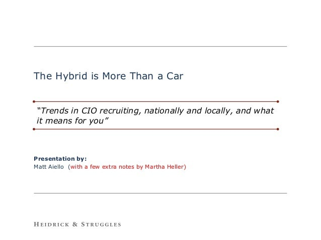 "The Hybrid is More Than a Car ""Trends in CIO recruiting, nationally and locally, and what it means for you""Presentation by..."