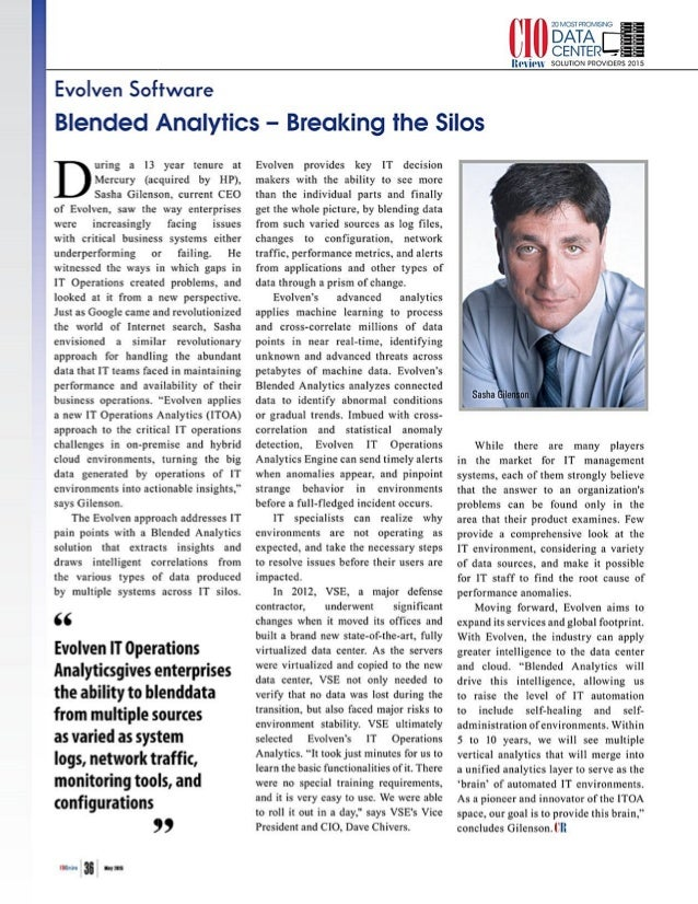 Cio Review Evolven Blended Analytics - Breaking the Silos