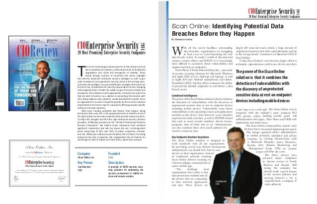 siliconindia | |February 2014 29siliconindia | |February 2014 28 iScan Online, Inc. 20 Most Promising Enterprise Security ...