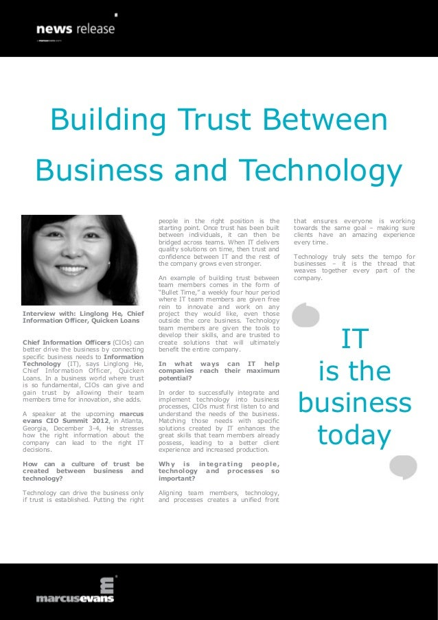 Building Trust Between    Business and Technology                                             people in the right position...