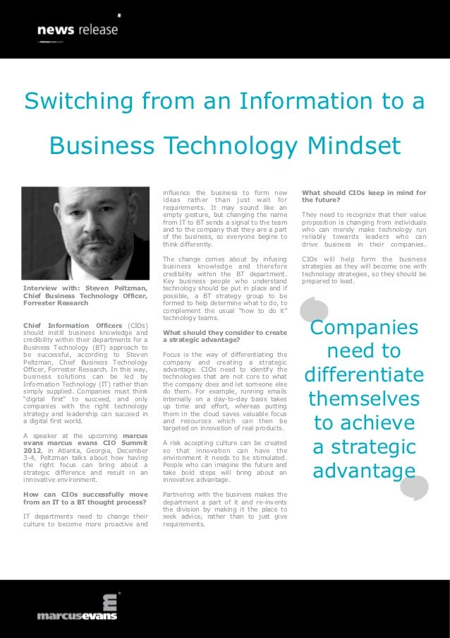 Switching from an Information to a        Business Technology Mindset                                             influenc...