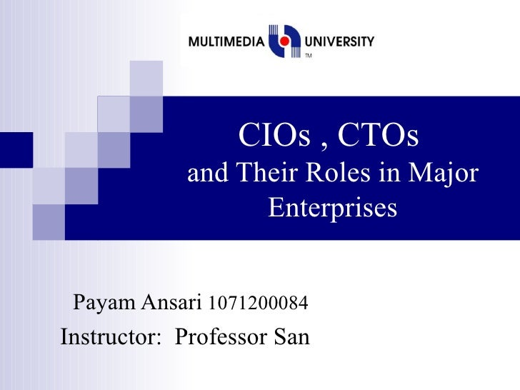 CIOs , CTOs   and Their Roles in Major Enterprises Payam Ansari  1071200084  Instructor:  Professor San
