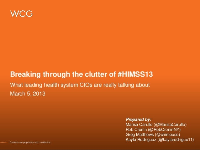 Breaking through the clutter of #HIMSS13What leading health system CIOs are really talking aboutMarch 5, 2013             ...