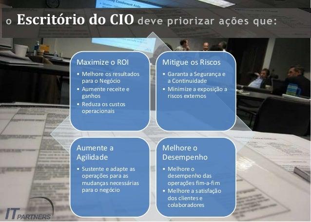o Escritório do CIO deve priorizar ações que: Maximize o ROI • Melhore os resultados para o Negócio • Aumente receite e ga...