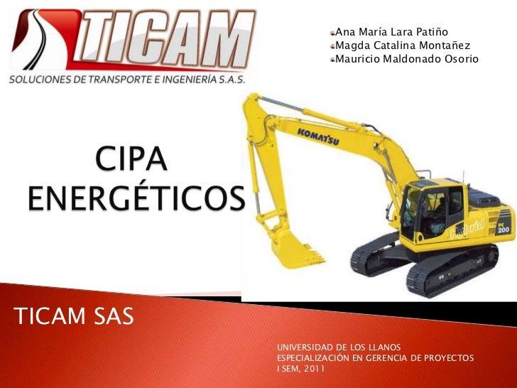 Ana María Lara Patiño<br />Magda Catalina Montañez<br />Mauricio Maldonado Osorio<br />CIPA  ENERGÉTICOS<br />TICAM SAS<br...