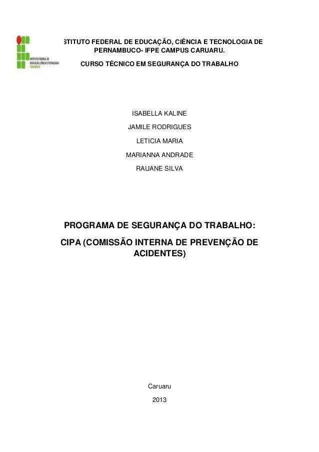 INSTITUTO FEDERAL DE EDUCAÇÃO, CIÊNCIA E TECNOLOGIA DE           PERNAMBUCO- IFPE CAMPUS CARUARU.      CURSO TÉCNICO EM SE...