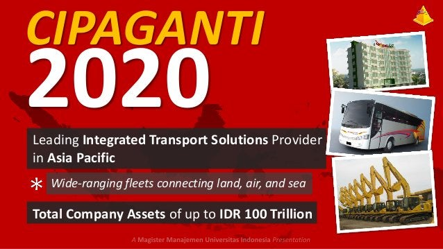 CIPAGANTI  2020  Leading Integrated Transport Solutions Provider in Asia Pacific Wide-ranging fleets connecting land, air,...