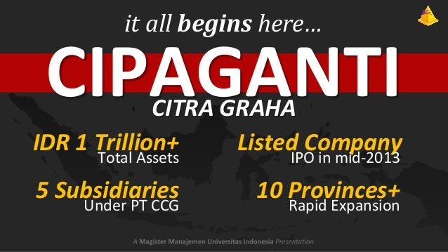 it all begins here…  CIPAGANTI  CITRA GRAHA IDR 1 Trillion+ Listed Company Total Assets  IPO in mid-2013  5 Subsidiaries  ...
