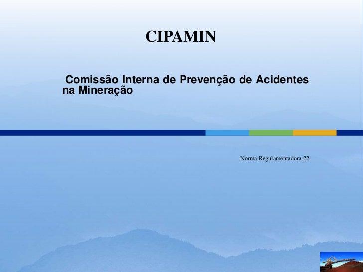 CIPAMINComissão Interna de Prevenção de Acidentesna Mineração                              Norma Regulamentadora 22